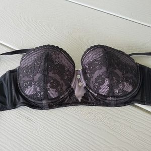 Push up Bra with Black Lace and removable straps